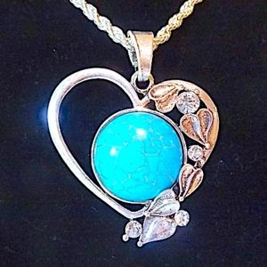 Gorgeous Tibetan silver heart with turquoise stone